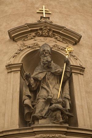 PRAGUE, CZECH REPUBLIC, 30 DECEMBER 2018. Sculpture adorning the church of St. Nicholas  in Prague, Czech Republic.