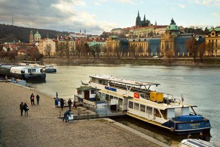 PRAGUE, CZECH REPUBLIC, 30 DECEMBER 2018. View of the Vltava River in Prague, Czech Republic.