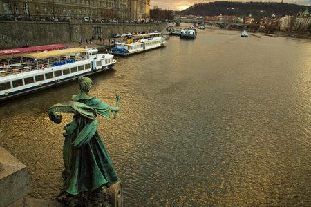 PRAGUE, CZECH REPUBLIC, 30 DECEMBER 2018. Sculpture on Chekhov bridge on the Vltava river  in Prague, Czech Republic.