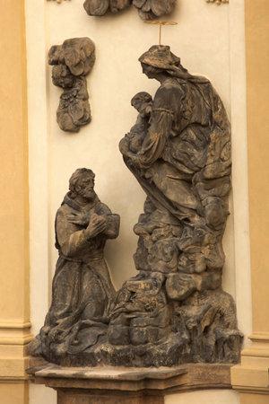 PRAGUE, CZECH REPUBLIC, 31 DECEMBER 2018. Sculpture decorating Loreta in Prague, Czech Republic.