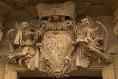 PRAGUE, CZECH REPUBLIC, 31 DECEMBER 2018. Fragment of the facade decoration of Loreta in Prague, Czech Republic. 報道画像