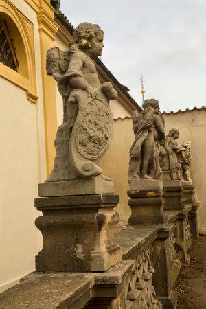 PRAGUE, CZECH REPUBLIC, 30 DECEMBER 2018. Statues of an angels next to Loreta in Prague, Czech Republic.