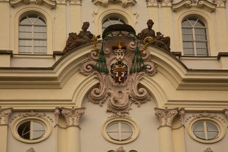 PRAGUE, CZECH REPUBLIC, 31 DECEMBER 2018. Detail of the facade of the Archbishop's Palace  in Prague, Czech Republic. 報道画像