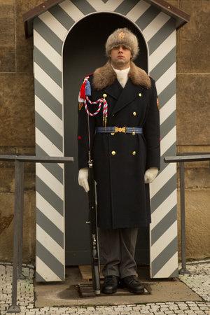 PRAGUE, CZECH REPUBLIC, 31 DECEMBER 2018. Czech president guard in Prague Castle, Czech Republic. 報道画像