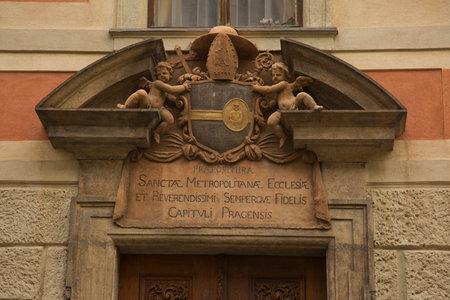 PRAGUE, CZECH REPUBLIC, 31 DECEMBER 2018. Fragment of decoration of St. Vitus Cathedral in Prague, Czech Republic.