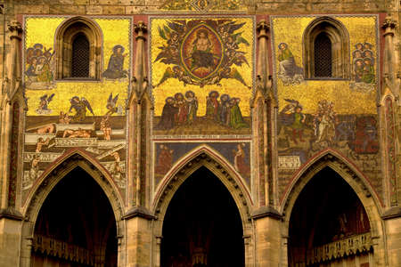 PRAGUE, CZECH REPUBLIC, 31 DECEMBER 2018. Frescoes over the entrance to St. Vitus Cathedral in Prague, Czech Republic. 報道画像