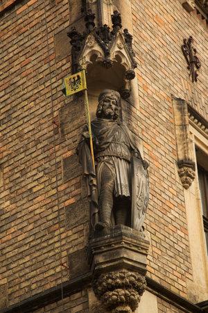 PRAGUE, CZECH REPUBLIC, 30 DECEMBER 2018. Statue of Knight on the facade of Saint Vitus Cathedral in Prague, Czech Republic.