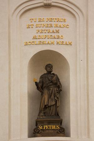 PRAGUE, CZECH REPUBLIC, 30 DECEMBER 2018. Statue of St. Peter at St. Vitus Cathedral in Prague, Czech Republic.