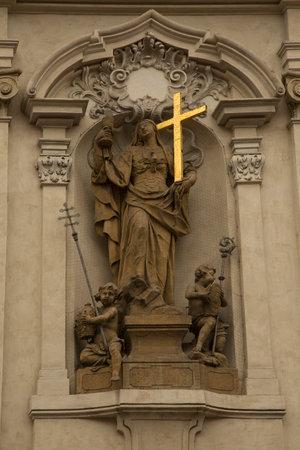 PRAGUE, CZECH REPUBLIC, 31 DECEMBER 2018. Sculpture on the facade of the church of St. Nicholas in Prague, Czech Republic. 報道画像
