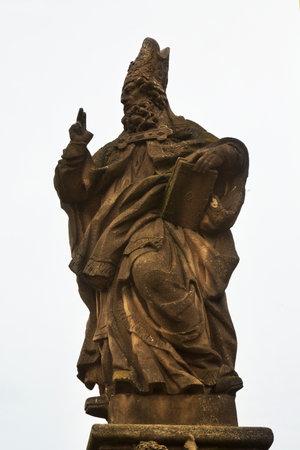 PRAGUE, CZECH REPUBLIC, 31 DECEMBER 2018. The statue of  St. Adalbert on Charles Bridge in Prague, Czech Republic. St. Adalbert . 報道画像