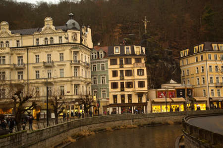 KARLOVY VARY, CZECH REPUBLIC, 01 JANUARY 2019. View of historical buildings in Karlovy Vary from the river Tepla, Czech Republic. 報道画像