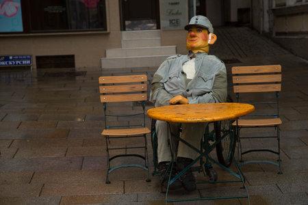 KARLOVY VARY, CZECH REPUBLIC, 01 JANUARY 2019. Doll Soldier Schweik, character of the Czech writer Jaroslav Hasek  in Karlovy Vary, Czech Republic.