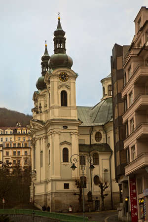 KARLOVY VARY, CZECH REPUBLIC 01 JANUARY 2019.  Catholic Church of St. Mary Magdalene in Karlovy Vary, Czech  Republic.