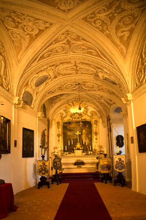 CZECH REPUBLIC, 31 DECEMBER 2018. The interior of one of the halls of the castle Sternberk, Czech Republic. 報道画像