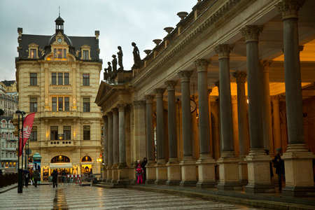 KARLOVY VARY, CZECH REPUBLIC, 01 JANUARY 2019. Mill Colonnade.Stone colonnade built in Pseudo-Renaissance style  in Karlovy Vary, Czech Republic.