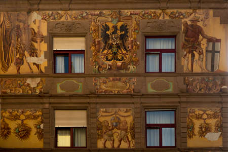 KONSTANZ, GERMANY, MAY 20, 2019. Fragment of the facade decoration of Hotel