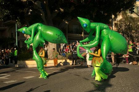 MENTON, FRANCE, 24 FEBRUARY 2019. The traditional carnival parade on the Lemons Festival in Menton, France.