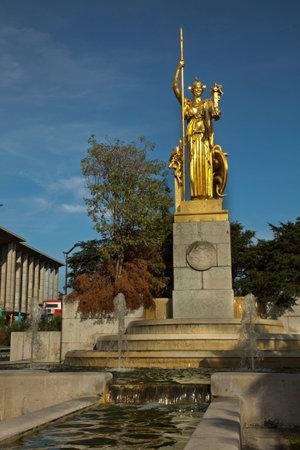 PARIS, FRANCE, 08 JULY 2019. Fontaine de la Porte Dorée (Golden Gate Fountain) in Indochinese Fighters Square, Paris, France.