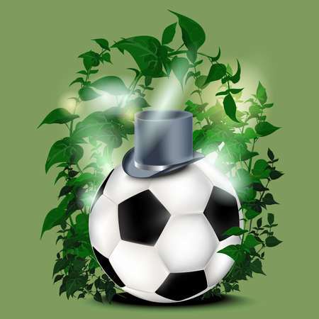 Football with green leaves Vector Illustration Illustration