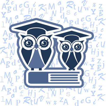 Owl with Mortar board and books