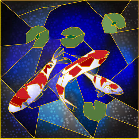 Stained glass with Japanese fishes Illustration