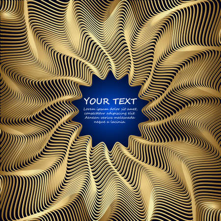 Golden  vector abstract waves background with Place for text. Congratulations card. Vector illustration