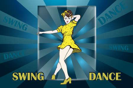 Pin-up girl dancing swing. Vector Illustration with dancing girl