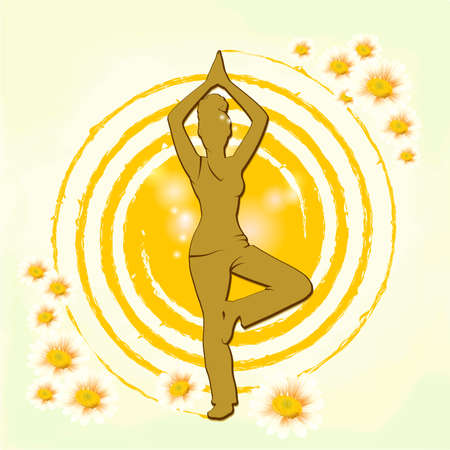 Woman practicing yoga with light background. Figure of a woman. Yoga. Vector Illustration
