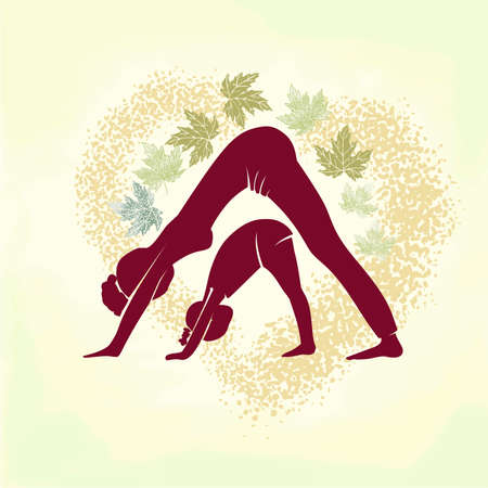 Yoga. Figure of a woman and a child engaged in yoga. Vector Illustration