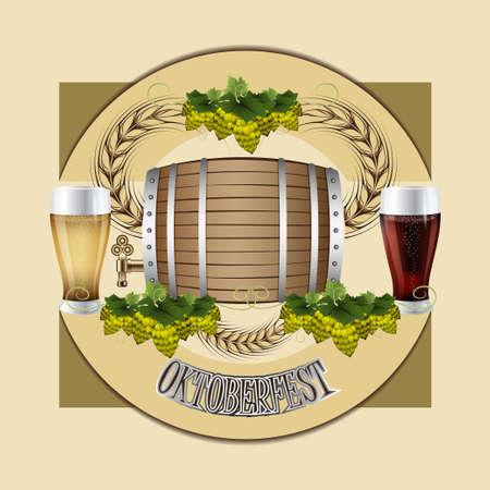 Oktoberfest celebration. Beer festival celebration. Beer barrel. Malt branch in green color Illustration