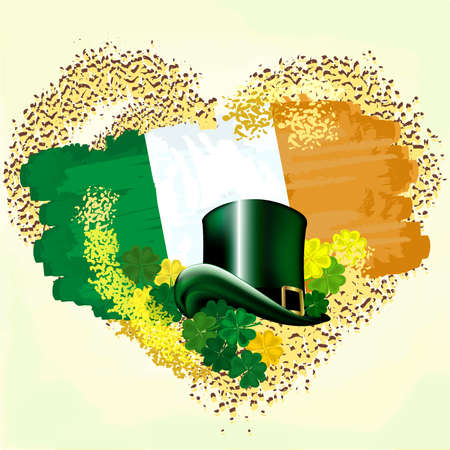 Flag of Ireland on grunge heart with Leprechaun hats and clovers. Illustration