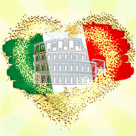 Flag of Italy on grunge heart with Colosseum.