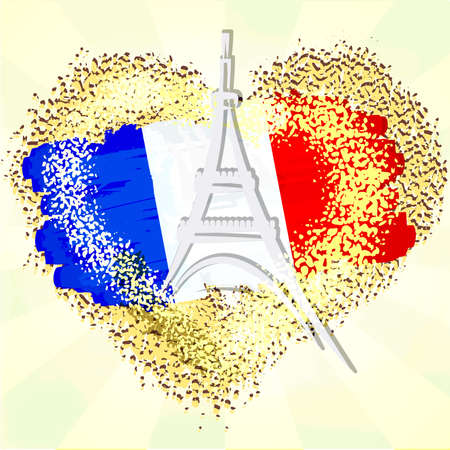 Flag of France on grunge heart with Eiffel tower.