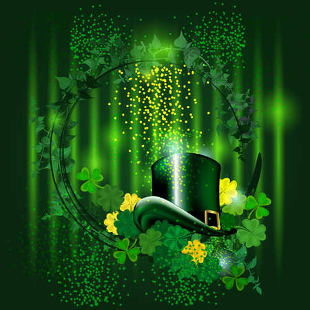 Leprechaun hats and clovers. Vector frame with stylish composition of green leaves. Vector Illustration