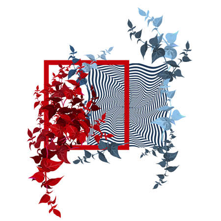 Frame with waves and abstract leaves. Red border, colour leaves, geometrical  waves, abstraction. Effect dynamic design motion graphic.  Vector Illustration Illustration