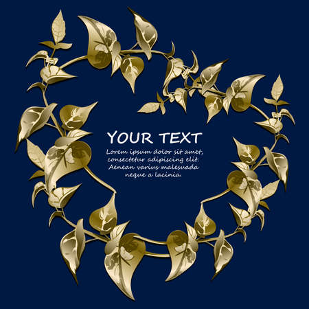 Gold Floral border with stylized leaves. Dark blue background. Space for text can be used for invitations, poster or greeting cards.Vector illustration.