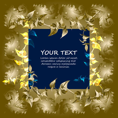 Gold framework with abstract elements. Space for text can be used for invitations, poster or greeting cards.Vector illustration