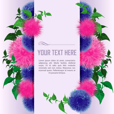 Greeting card with Flowers and Green leaves. Floral border for invitations and birthday cards. Place for text. Vector illustration Illustration
