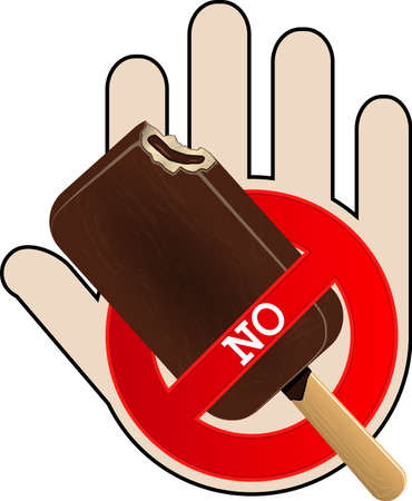 No Ice Cream icon with hand. No food or fastfood. Vector illustration