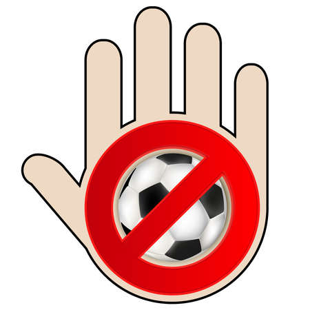 No play or football sign with hand, vector illustration. Illustration