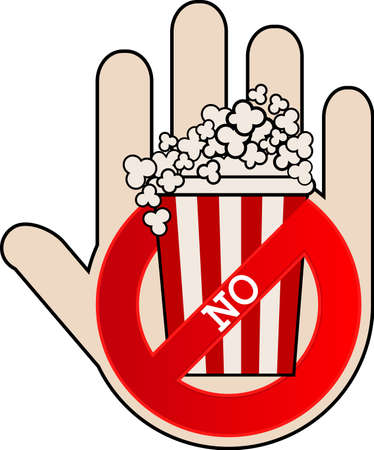 No popcorn icon with hand. No food or fast food, vector illustration.