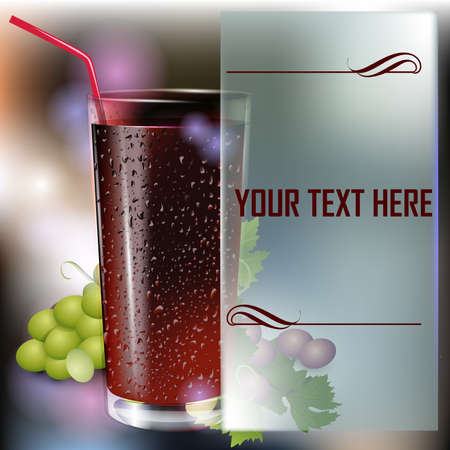 Glass of cola on a dark abstract background. Fast food menu. Place for text. Vector glass of drink.  Vector illustration