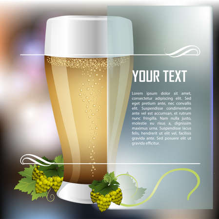 Glass of beer. Beer festival celebration. Mug with beer on abstract background with malt branch. Place for text. Vector glass of drink. Vector illustration Illustration
