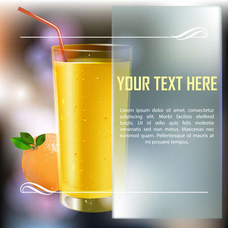 Fresh orange  and cherry juice in a glass with fruits. Fresh orange, cherry, grapes and piece of cheese. Vector illustration