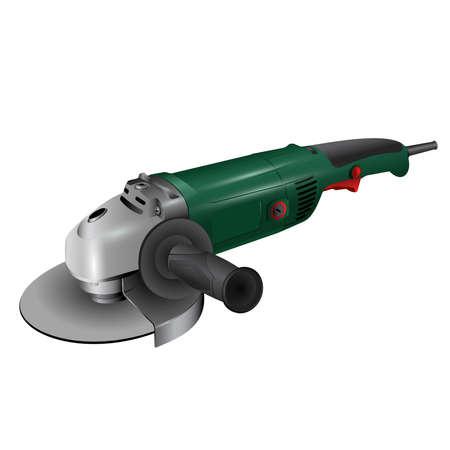 Angle grinder on white illustration. Illustration