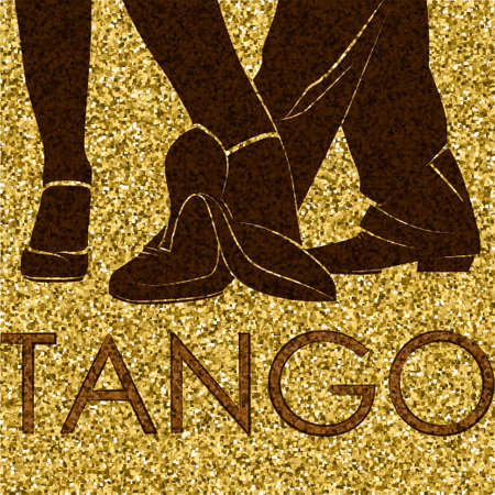 Tango dance. Silhouettes of feet of dancing people. Dancing couple. Vector Illustration Illustration