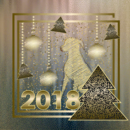 Happy New Year. Merry Christmas card with dogg of Chinese calendar. Drawing Christmas balls. Vector Illustration