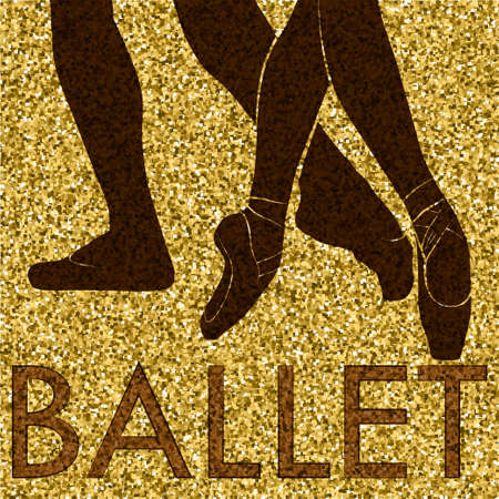 Ballet in Silhouette of feet of dancing people.