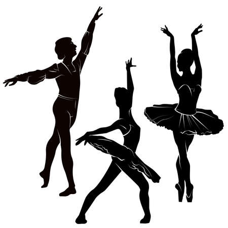 Ballet. Silhouette of feet of dancing people. Figures on white background. Vector Illustration 向量圖像
