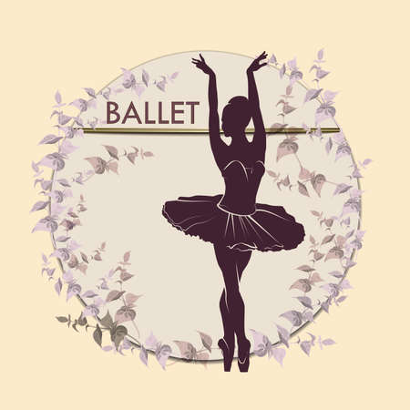 Ballet. Dancing silhouette on vintage background. Silhouette of feet of dancing people. Vector Illustration